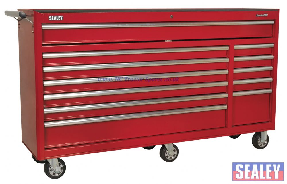 Rollcab 12 Drawer with Ball Bearing Runners Heavy-Duty - Red,